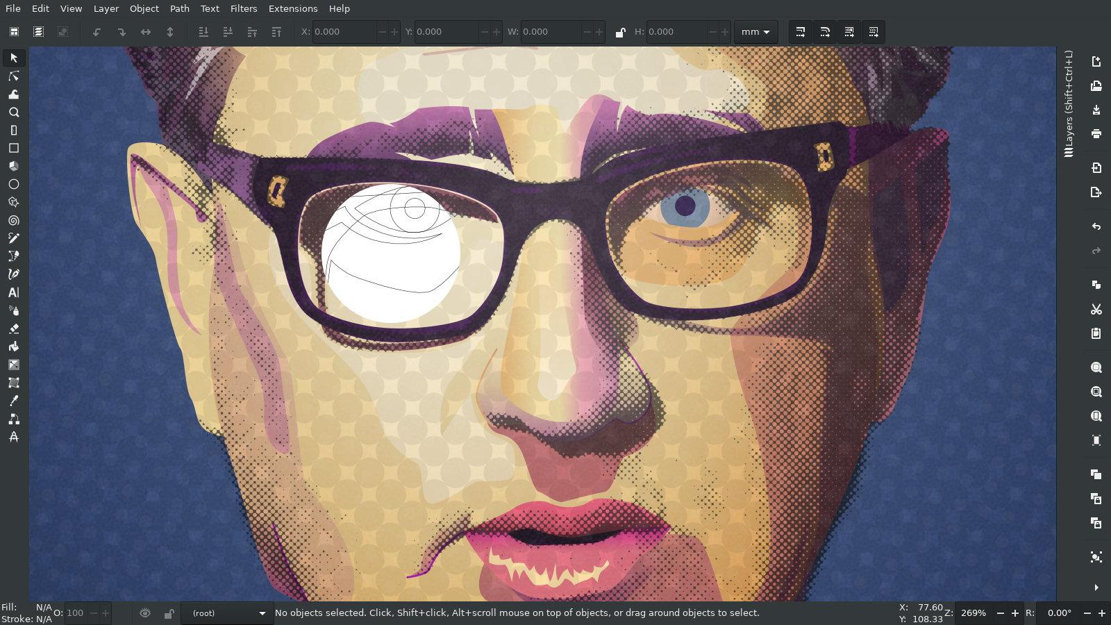 Vector Pop Art – Henry Kissinger Portrait – Inkscape X-ray Screenshot – SVG Bezier Illustration by gfkDSGN
